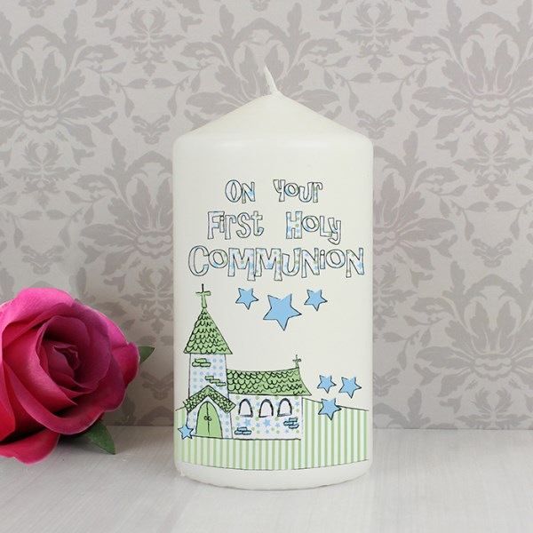 Blue First Holy Communion Church Candle
