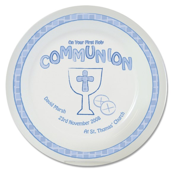 Blue First Holy Communion Plate