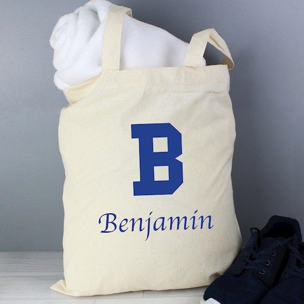 Blue Initial Cotton Bag