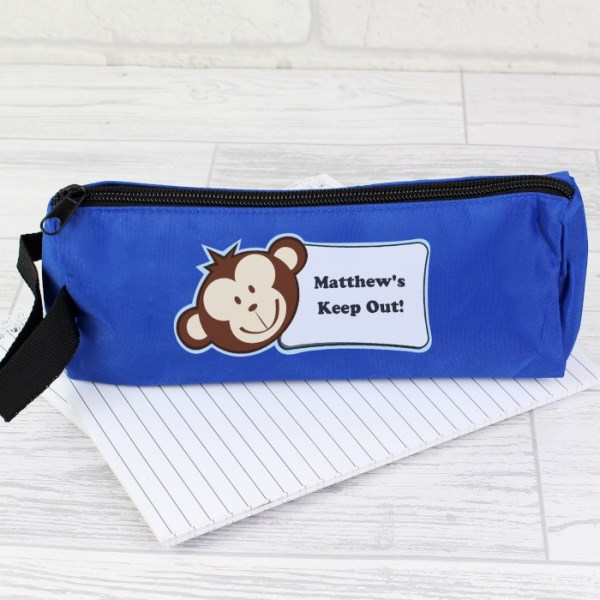 Monkey Blue Pencil Case