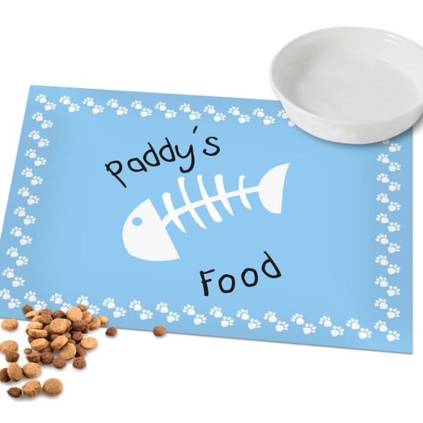 Personalised Blue Fish Bone Cat Laminated Print Placemat