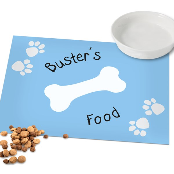 Blue Paw Print Dog Laminated Print Placemat