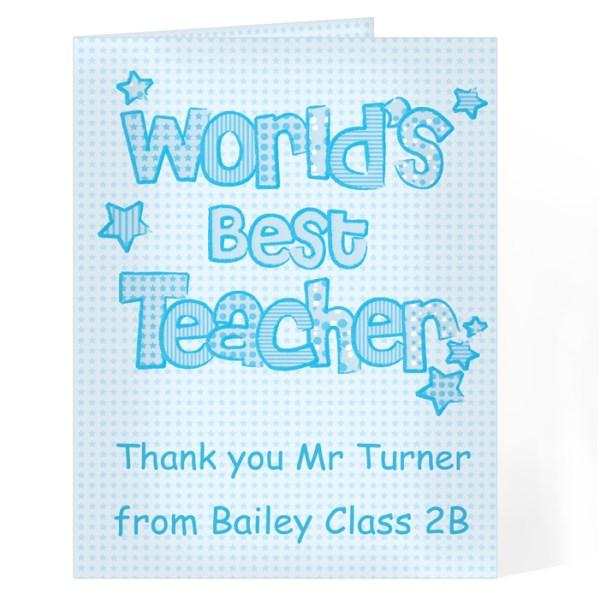 Blue World's Best Teacher Card
