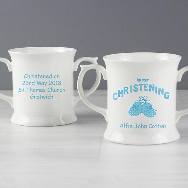 Bootee Blue Christening Loving Mug