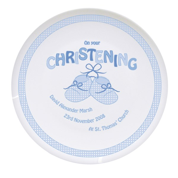 Bootee Blue Christening Plate