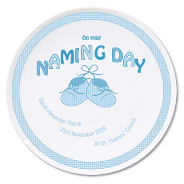 Bootee Blue Naming Day Plate