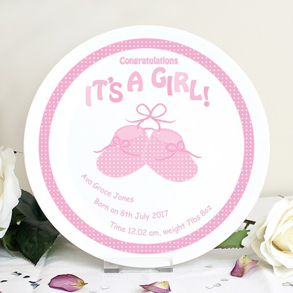 Bootee It's a Girl Plate