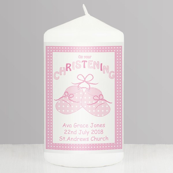 Bootee Pink Christening Candle