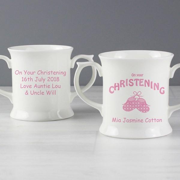 Bootee Pink Christening Loving Mug