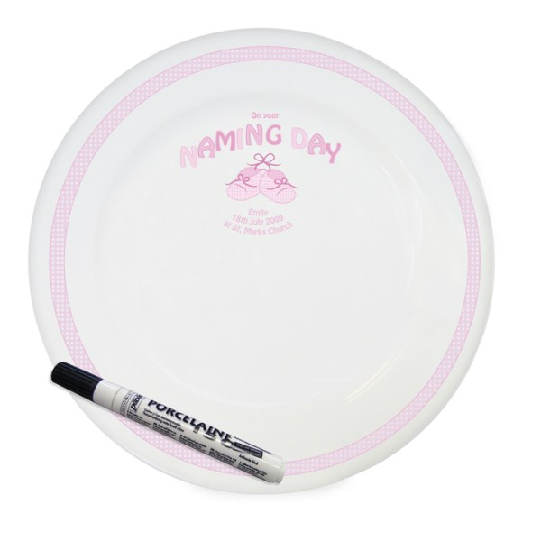 Bootee Pink Naming Day Message Plate