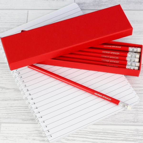 Box of 12 Red HB Pencils