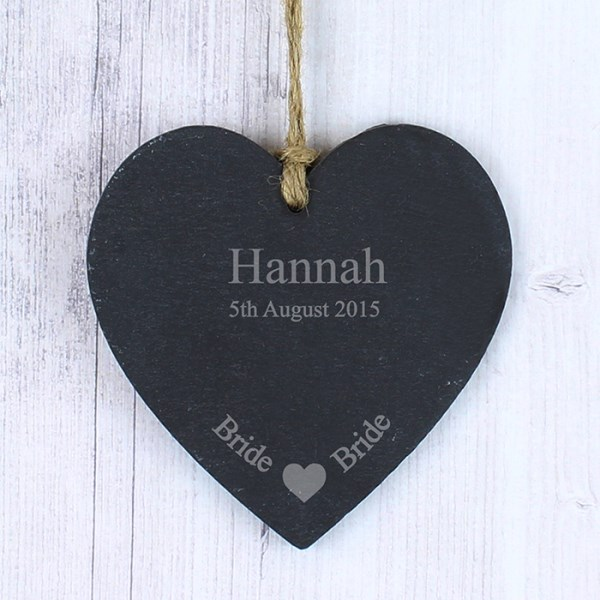 Personalised Bride Small Slate Heart Decoration