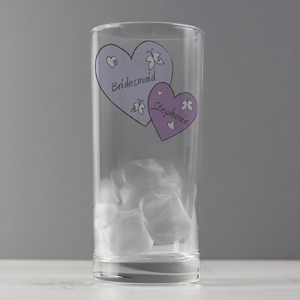 Butterfly Hearts Hi Ball Glass