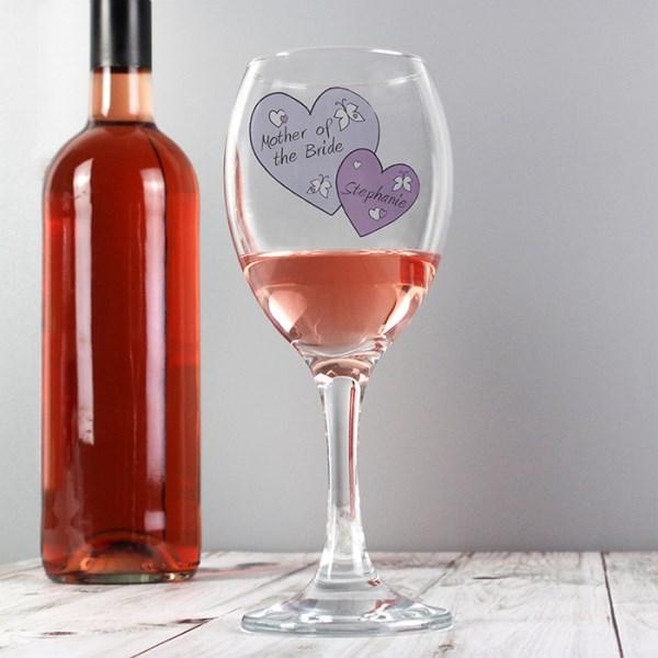 Butterfly Hearts Wedding Wine Glass