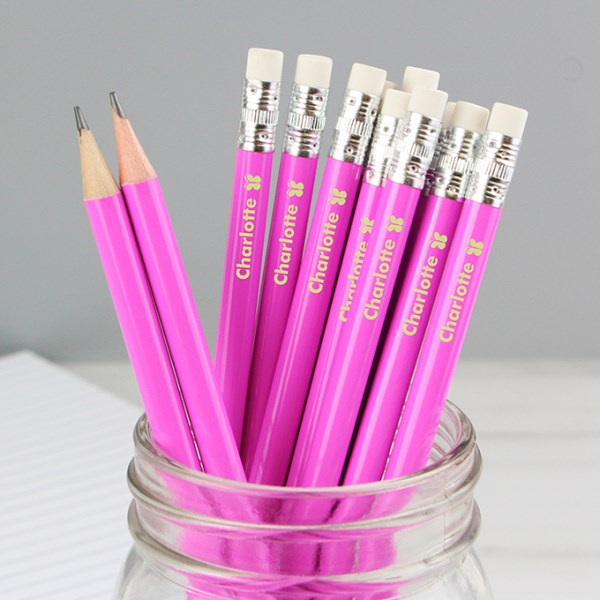 Butterfly Motif Pink Pencils