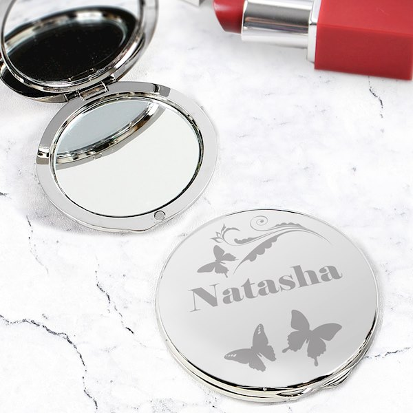 Butterfly Swirl Compact Mirror