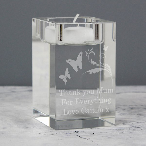 Butterfly Swirl Glass Tea Light Candle Holder