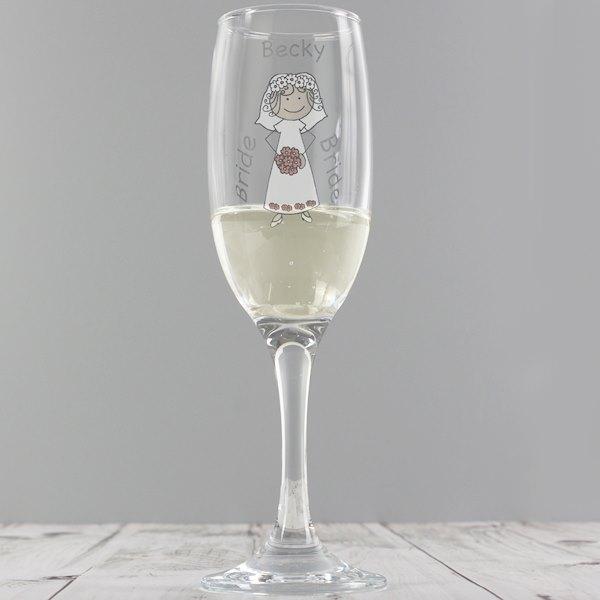 Cartoon Wedding Flute Glass