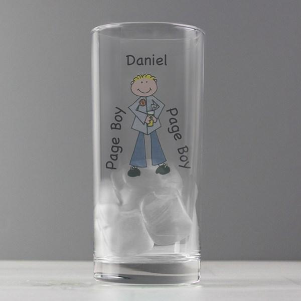 Cartoon Wedding Young Male Hi Ball Glass