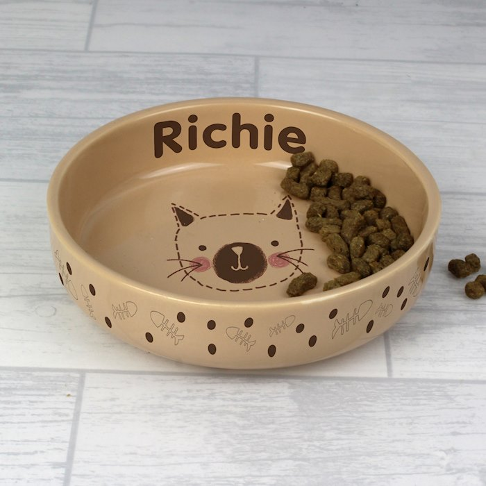 Cat Stitch Small Brown Cat Bowl