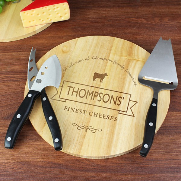 Cheese Label Cheeseboard with Cheese Knives