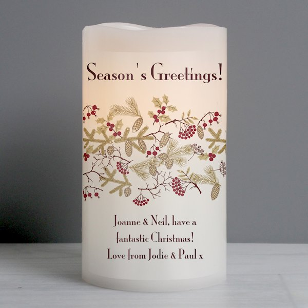 Christmas Floral LED Candle