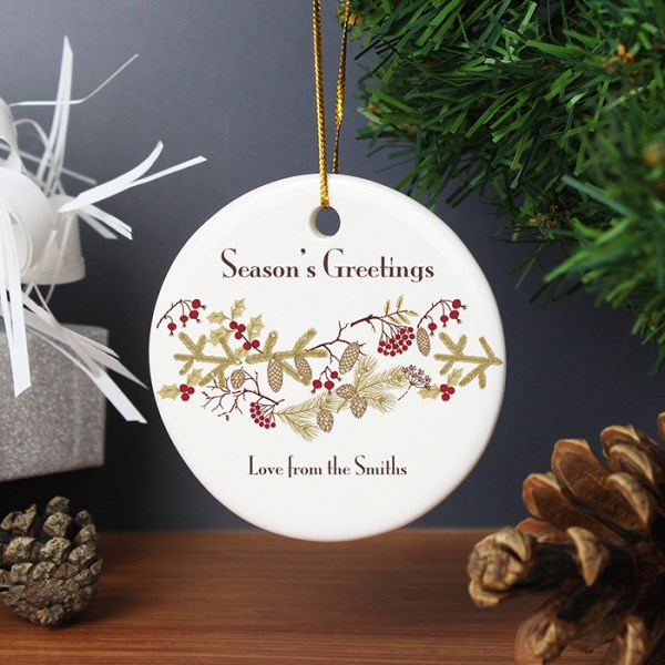 Christmas Floral Round Ceramic Decoration