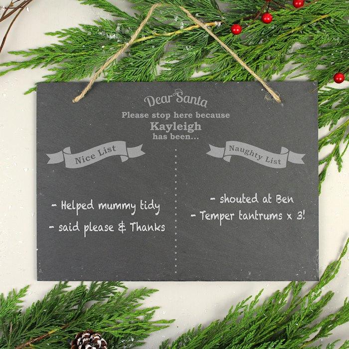 Christmas Naughty & Nice Hanging Slate Sign