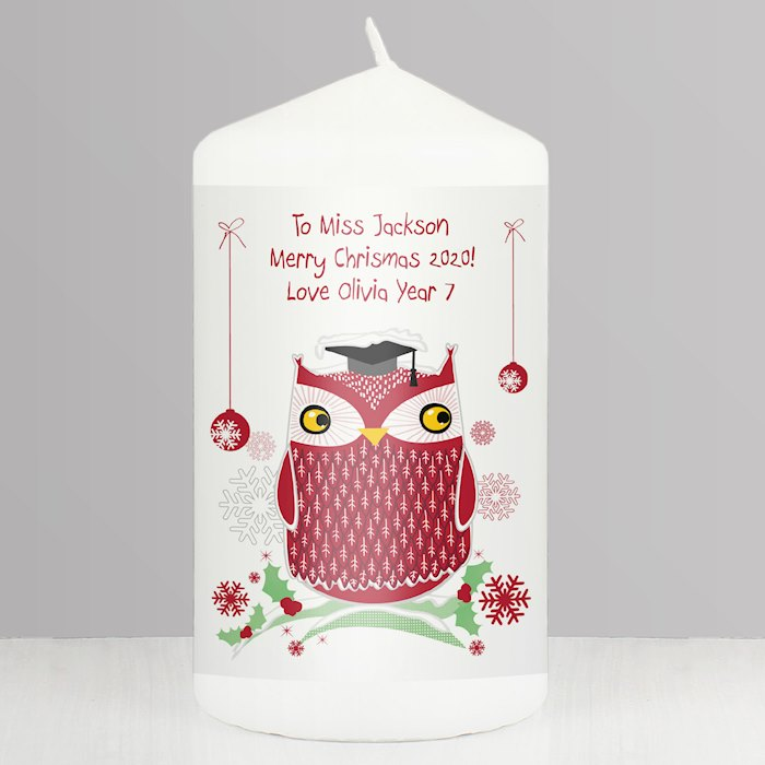 Christmas Owl Teacher Candle