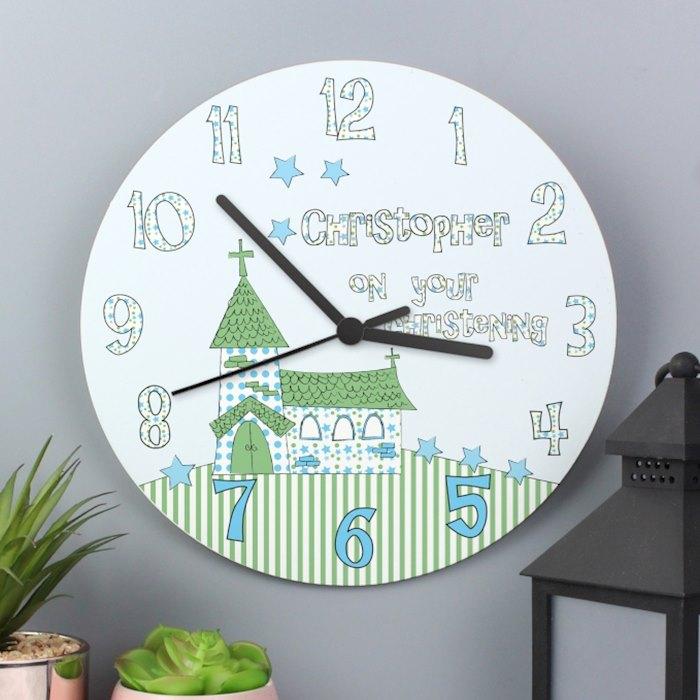 Personalised Church Boys Christening Wooden Clock