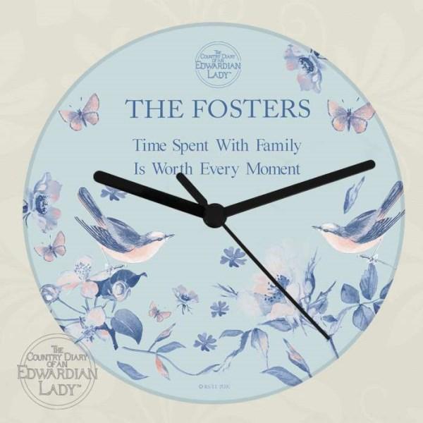 Country Diary Blue Blossom Glass Clock