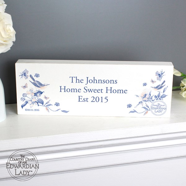 Country Diary Blue Blossom Wooden Block Sign