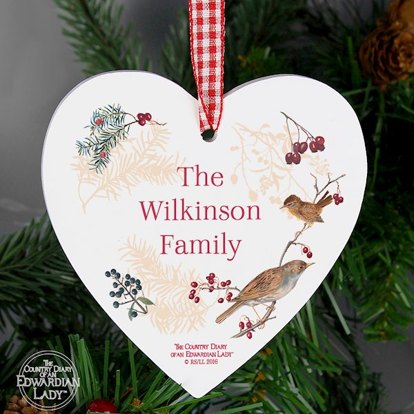 Country Diary Midwinter Wooden Heart Decoration