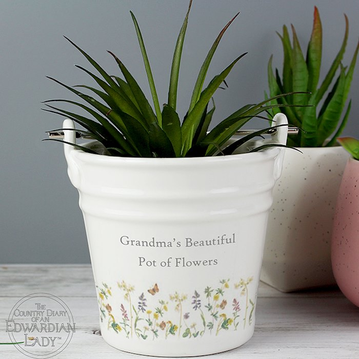 Country Diary Wild Flowers Porcelain Bucket