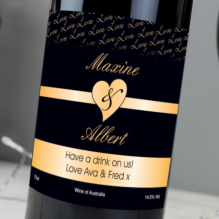 Couples Heart Red Wine- Black Design