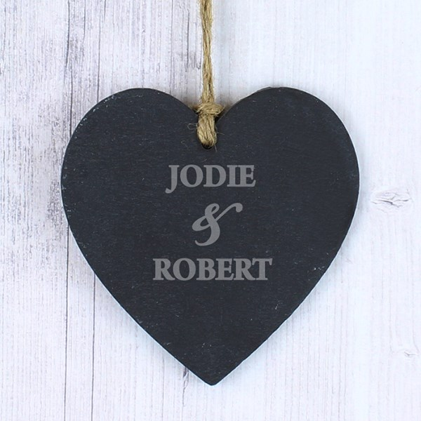 Personalised Couples Small Slate Heart Decoration