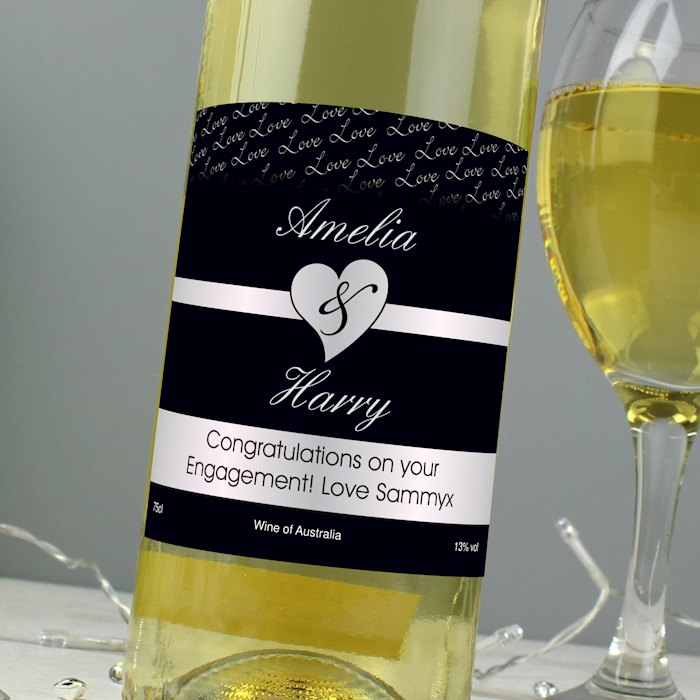 Couples White Wine- Black Design