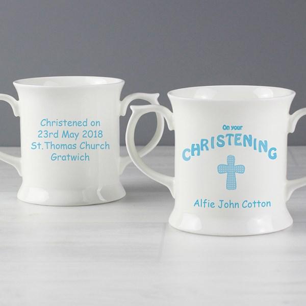 Cross Blue Christening Loving Mug