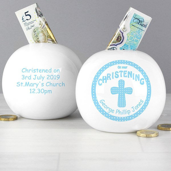 Cross Blue Christening Money Box