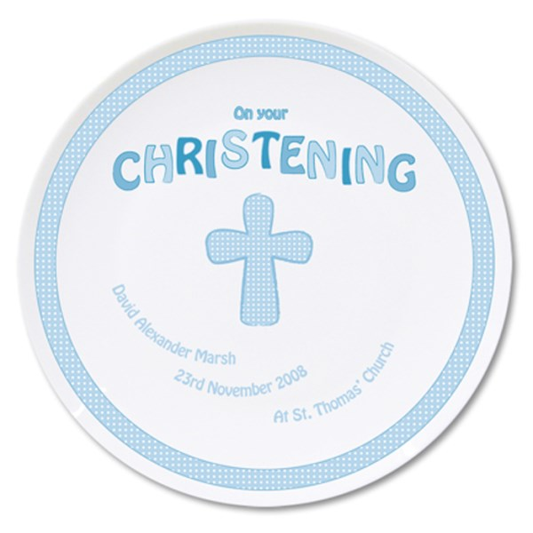 Cross Blue Christening Plate