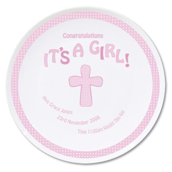 Cross Its a Girl Plate