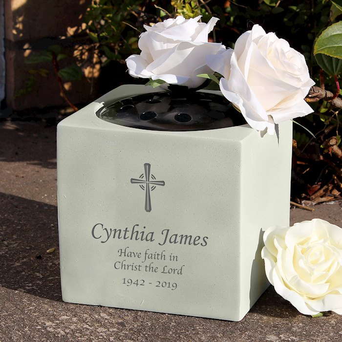 Cross Memorial Vase
