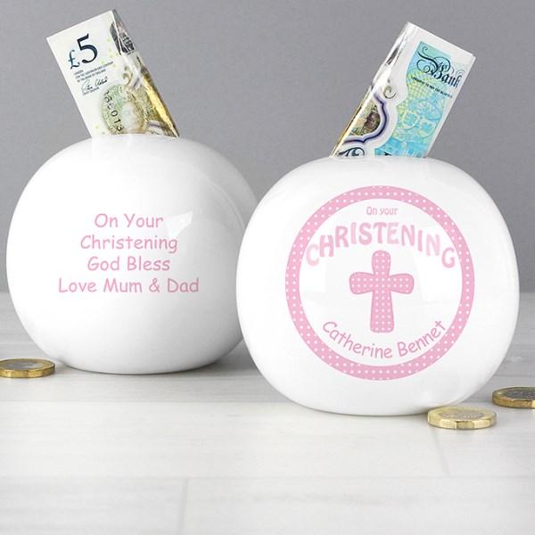 Cross Pink Christening Money Box