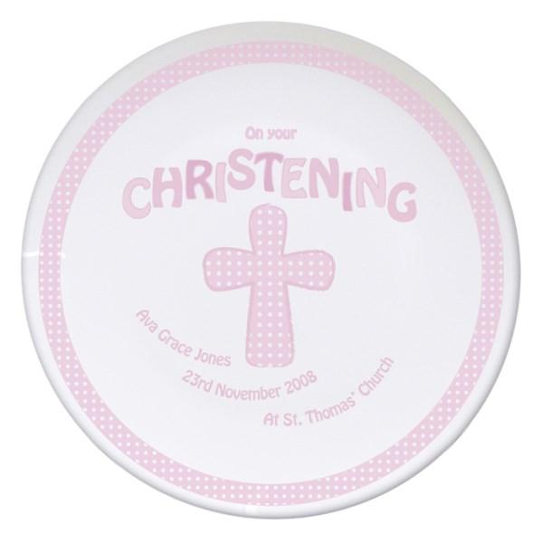 Cross Pink Christening Plate