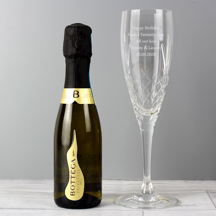 Cut Crystal and Miniature Prosecco Set