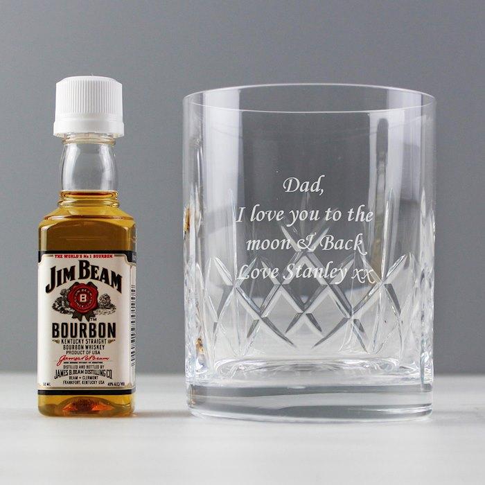 Cut Crystal Glass & Bourbon Whiskey Miniature Set