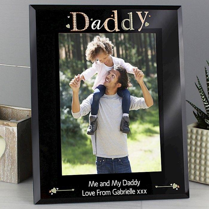 Daddy Black Glass 5x7 Photo Frame