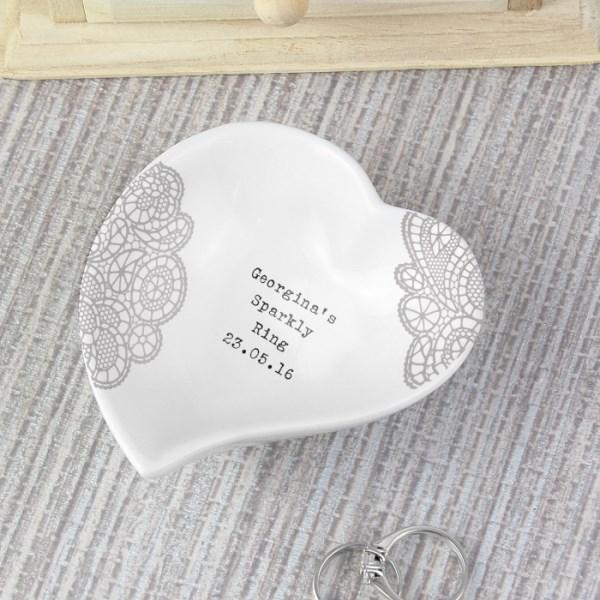 Dainty Lace Ceramic Ring Dish