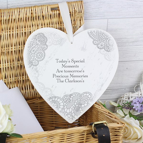 Dainty Lace 22cm Large Wooden Heart Decoration