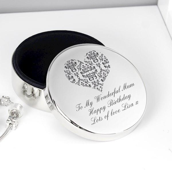 Damask Heart Round Trinket Box